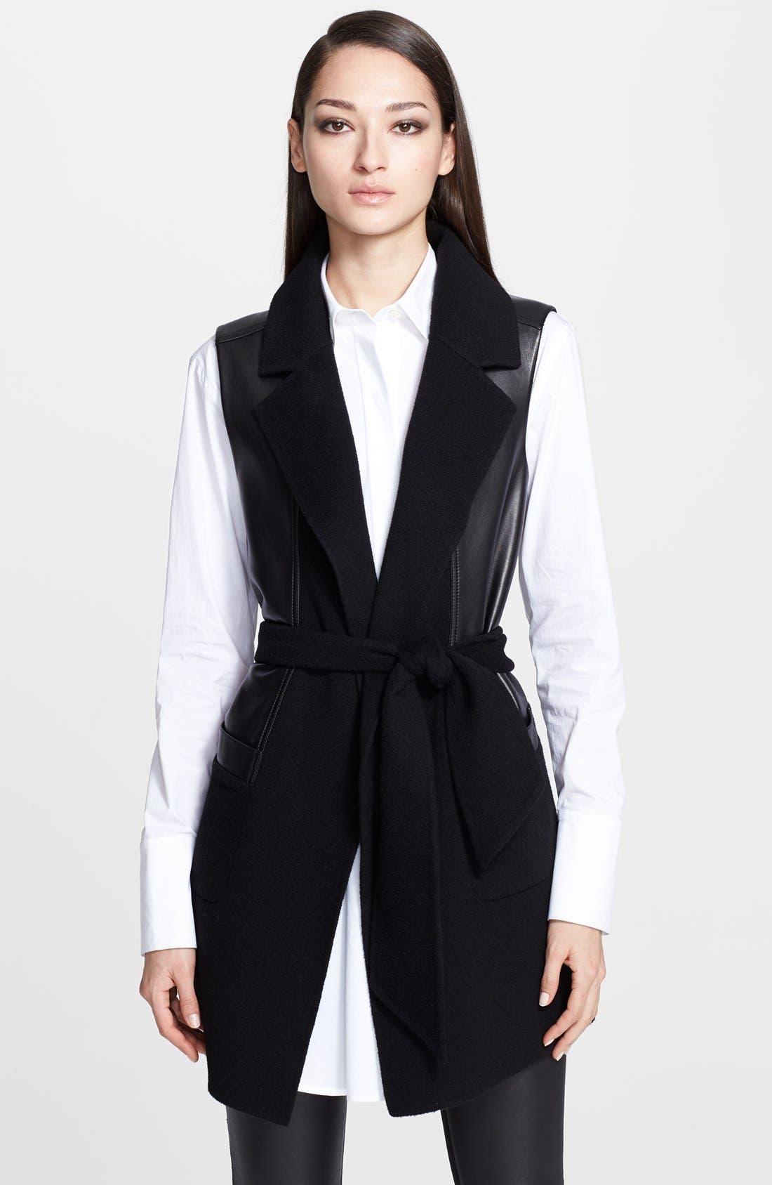 Main Image - Donna Karan Collection Belted Leather & Cashmere Vest