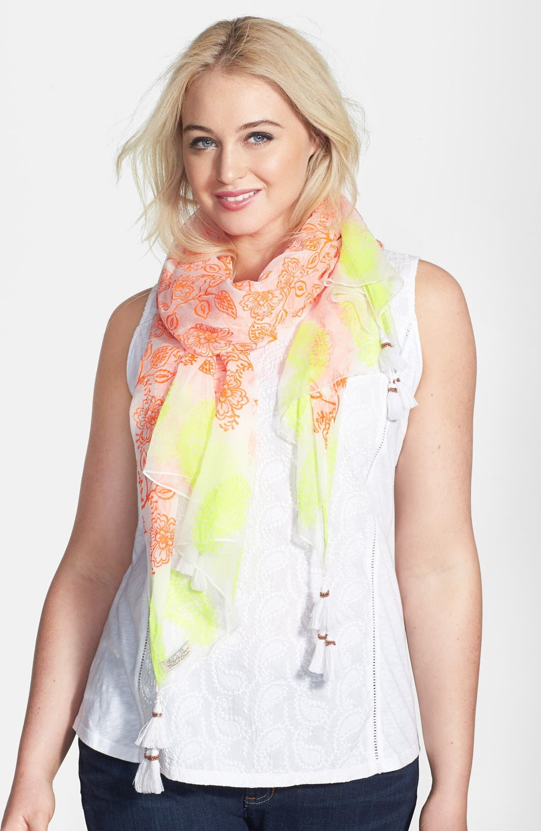 Alternate Image 1 Selected - Lucky Brand Neon Woodblock Print Scarf