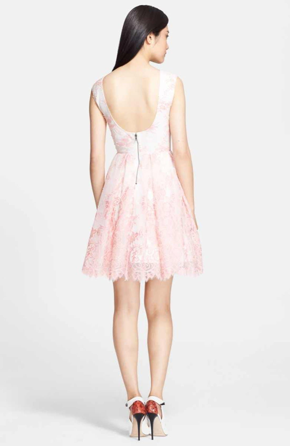 Alternate Image 2  - Alice + Olivia 'Zenden' Lace Fit & Flare Dress
