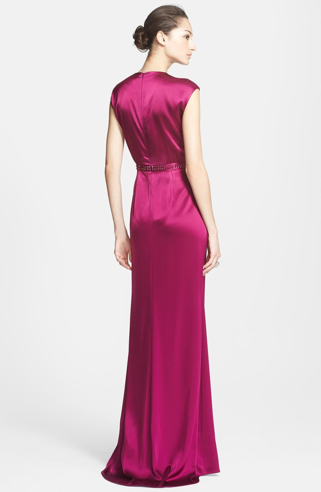 Alternate Image 2  - St. John Collection Embellished Liquid Satin Gown with Train