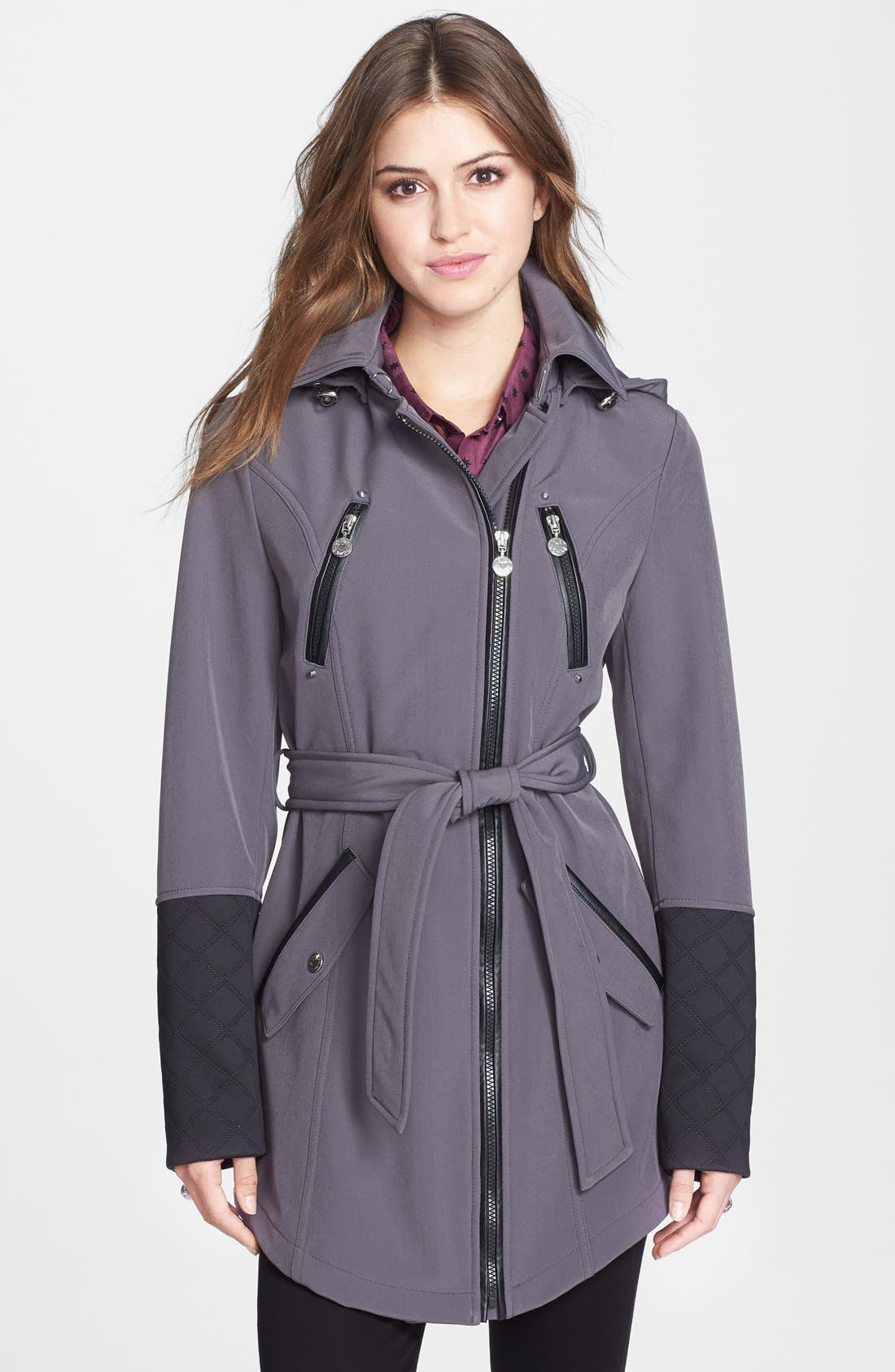 Alternate Image 1 Selected - Betsey Johnson Faux Leather Trim Soft Shell Jacket with Removable Hood (Online Only)