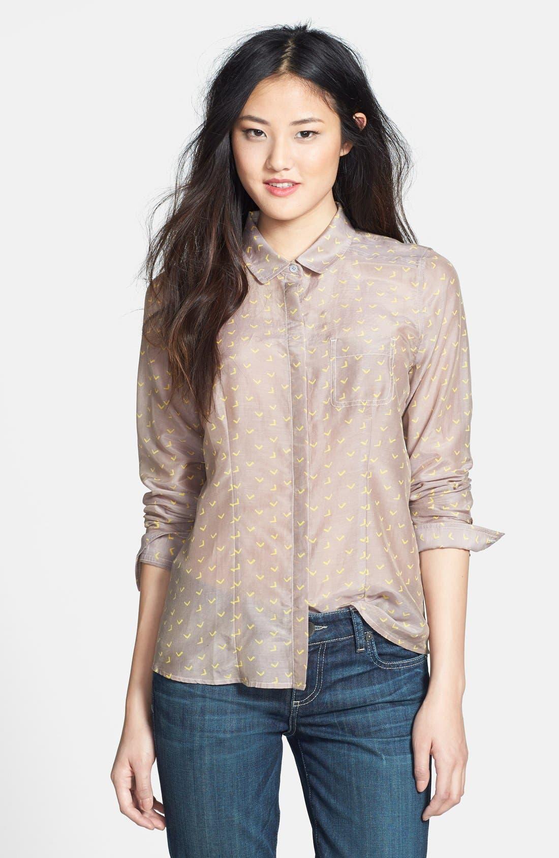 Alternate Image 1 Selected - Halogen® Cotton & Silk Shirt (Regular & Petite)