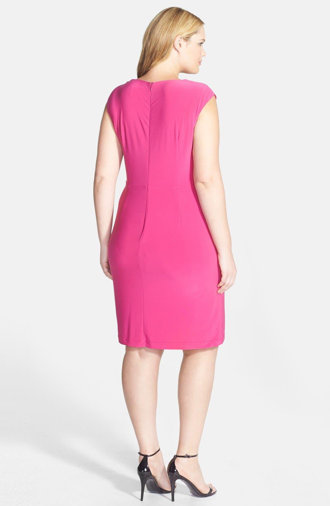 Alternate Image 2  - Adrianna Papell Asymmetric Drape Cowl Neck Jersey Sheath Dress (Plus Size)