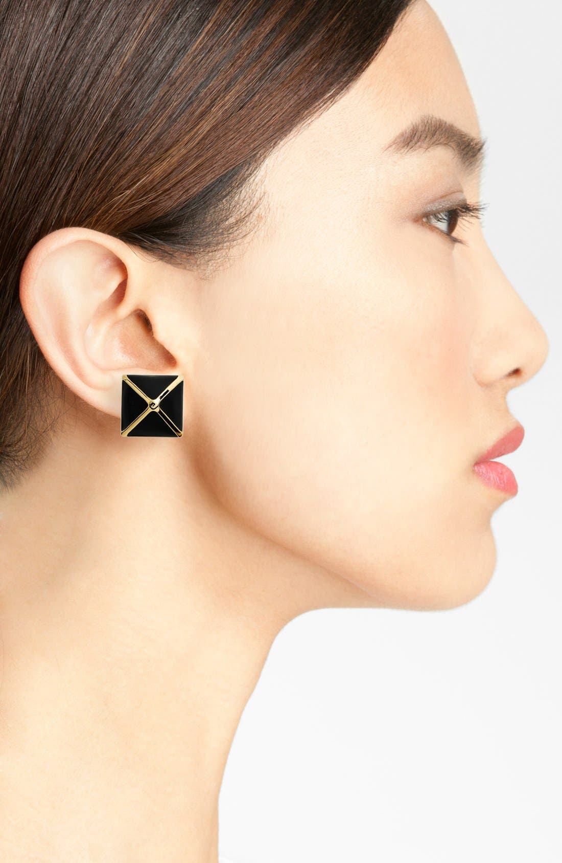 Alternate Image 3  - St. John Collection Enamel Pyramid Stud Earrings