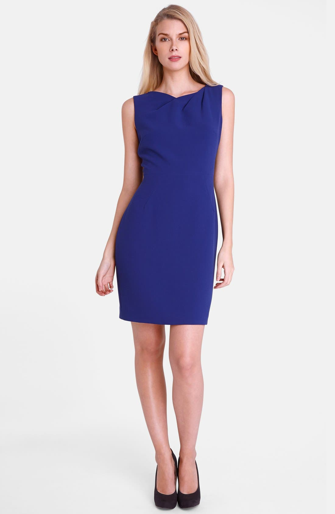 Alternate Image 3  - Tahari 'Mike' Pleated Neck Crepe Sheath Dress