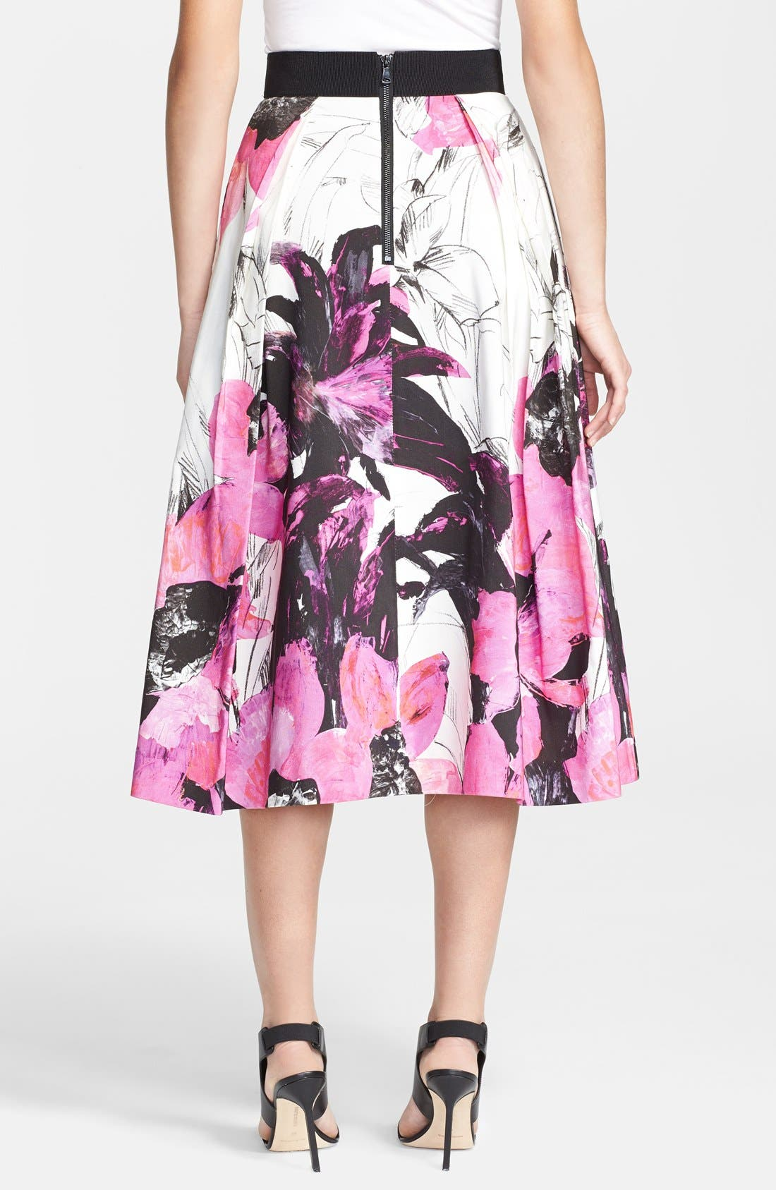 Alternate Image 2  - Milly 'Winter Orchid' Print Midi Skirt