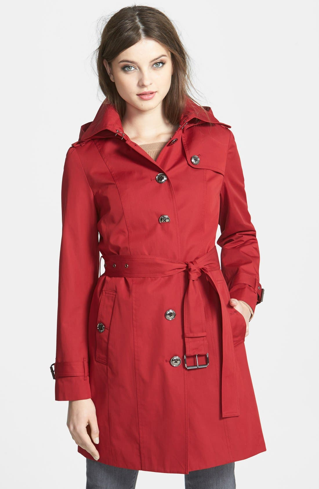Main Image - MICHAEL Michael Kors Trench Coat with Detachable Hood & Liner