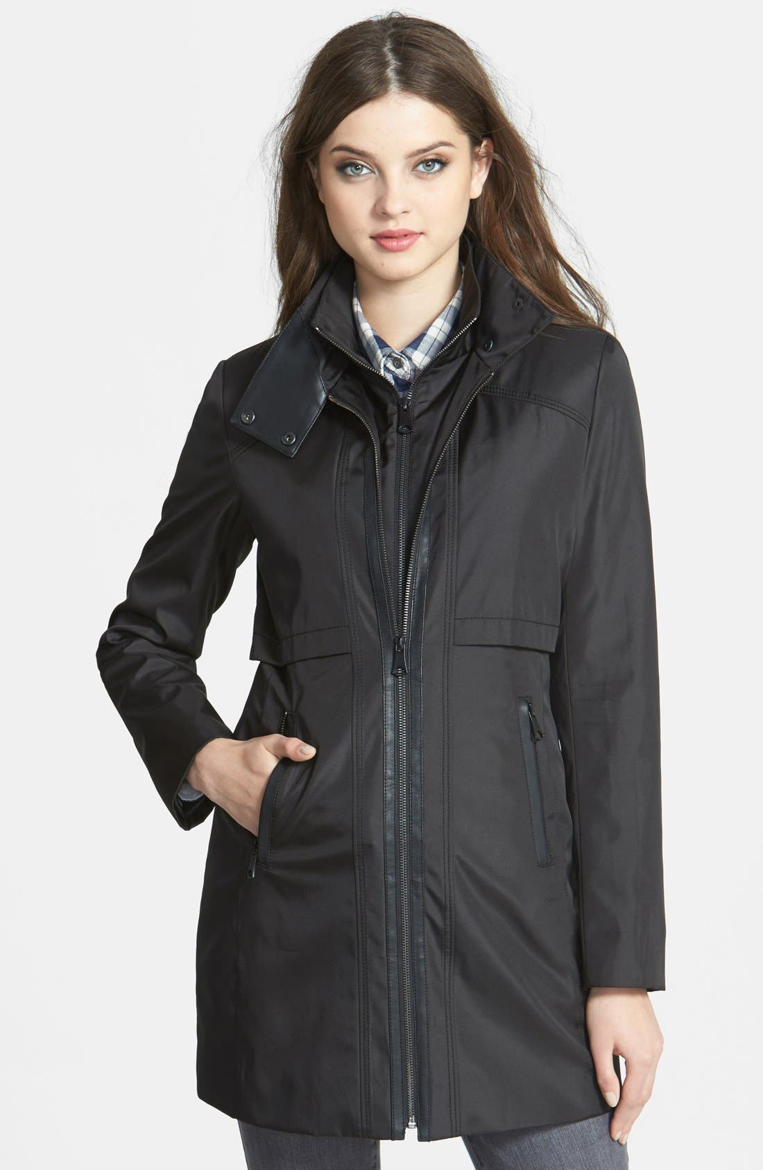 Main Image - Marc New York Faux Leather Trim Rain Jacket with Removable Bib (Online Only)