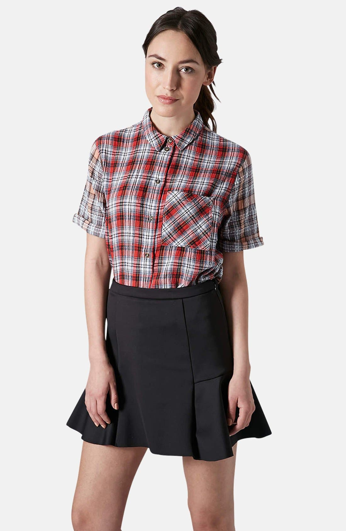 Alternate Image 1 Selected - Topshop Check Seersucker Shirt