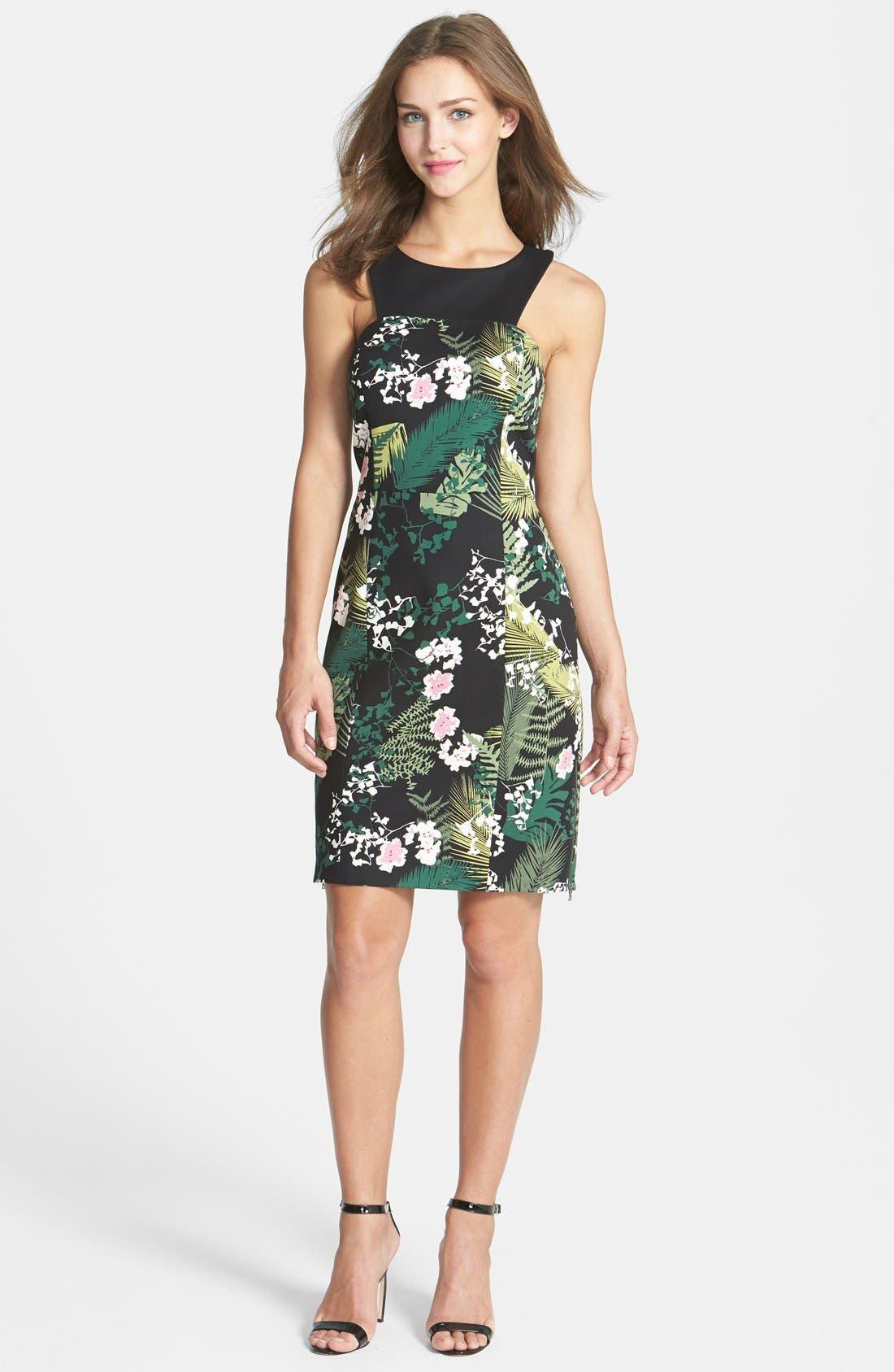 Main Image - Adrianna Papell 'Rainforest' Print Cutout Stretch Cotton Dress