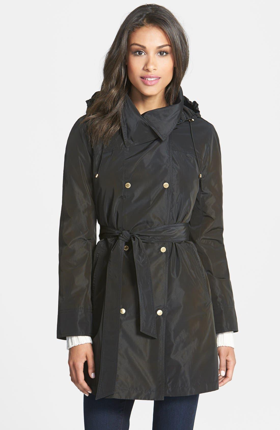 Main Image - Ellen Tracy Packable Belted Iridescent Raincoat