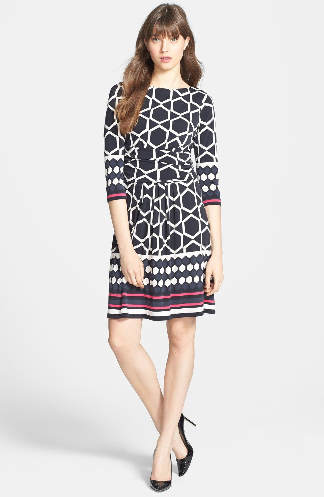 Alternate Image 3  - Eliza J Border Print Ruched Waist Fit & Flare Dress