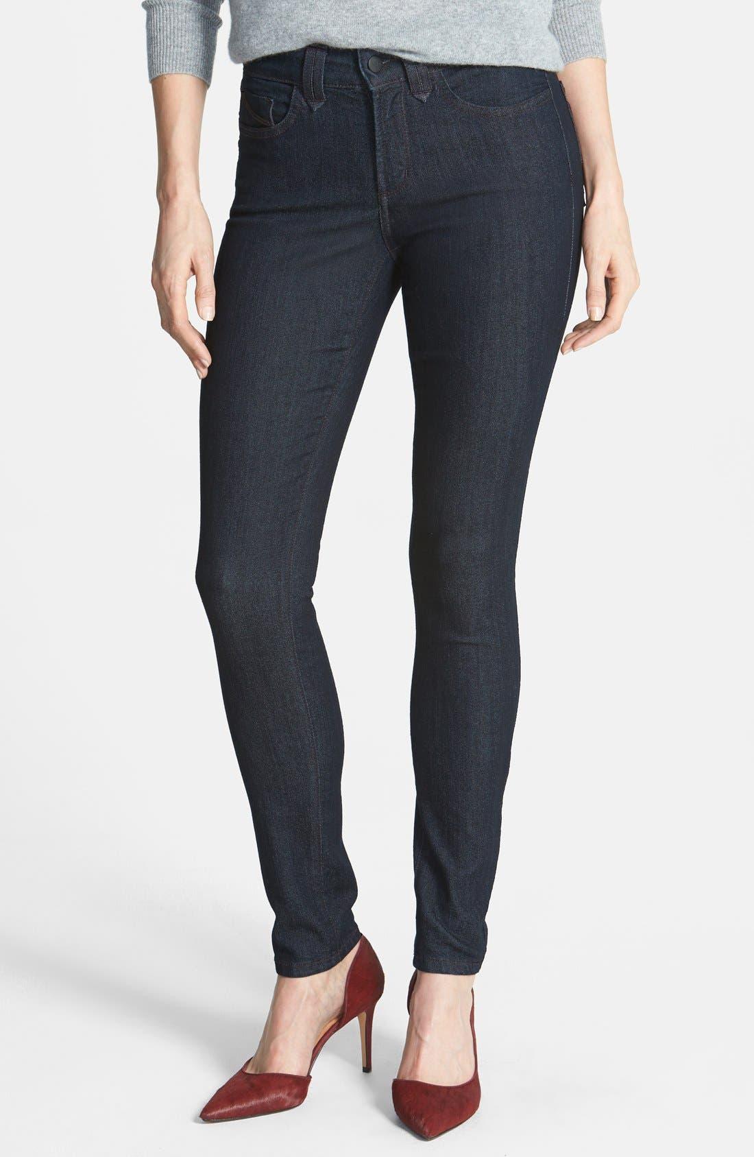 Main Image - NYDJ 'Ami' Contrast Stitch Stretch Skinny Jeans (Dark Enzyme)