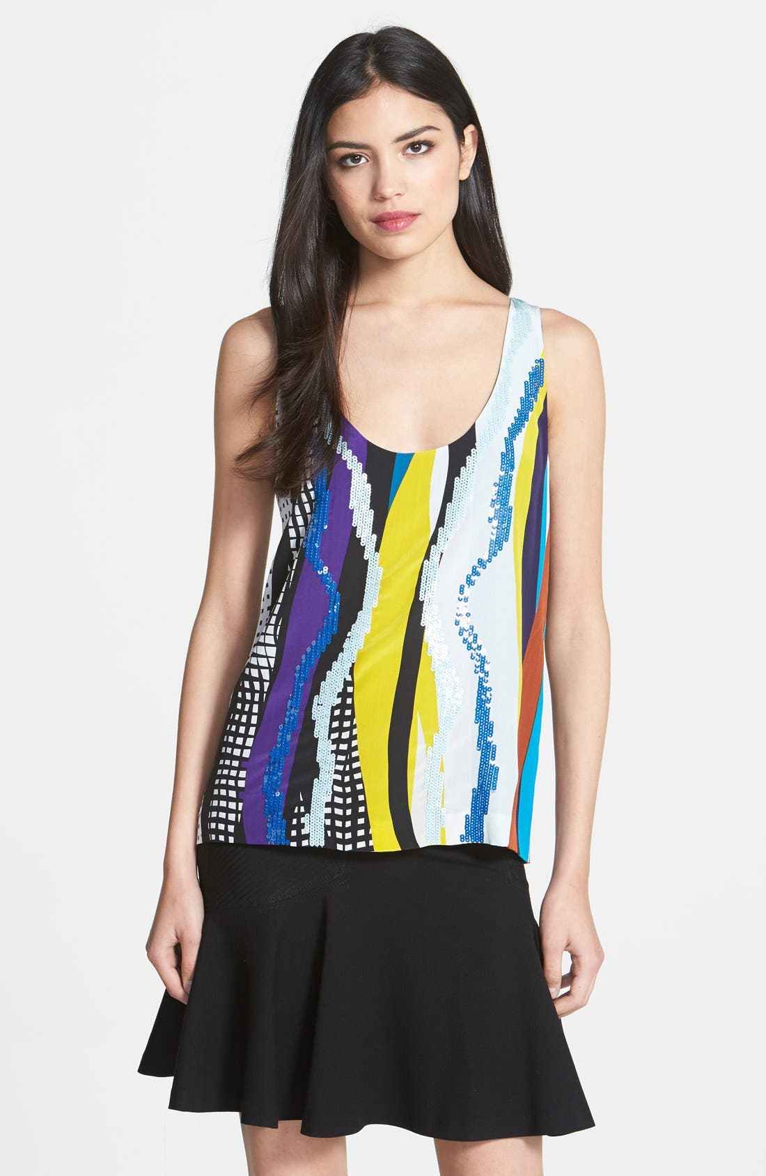 Alternate Image 1 Selected - Diane von Furstenberg 'Jackie' Sequin Silk Tank