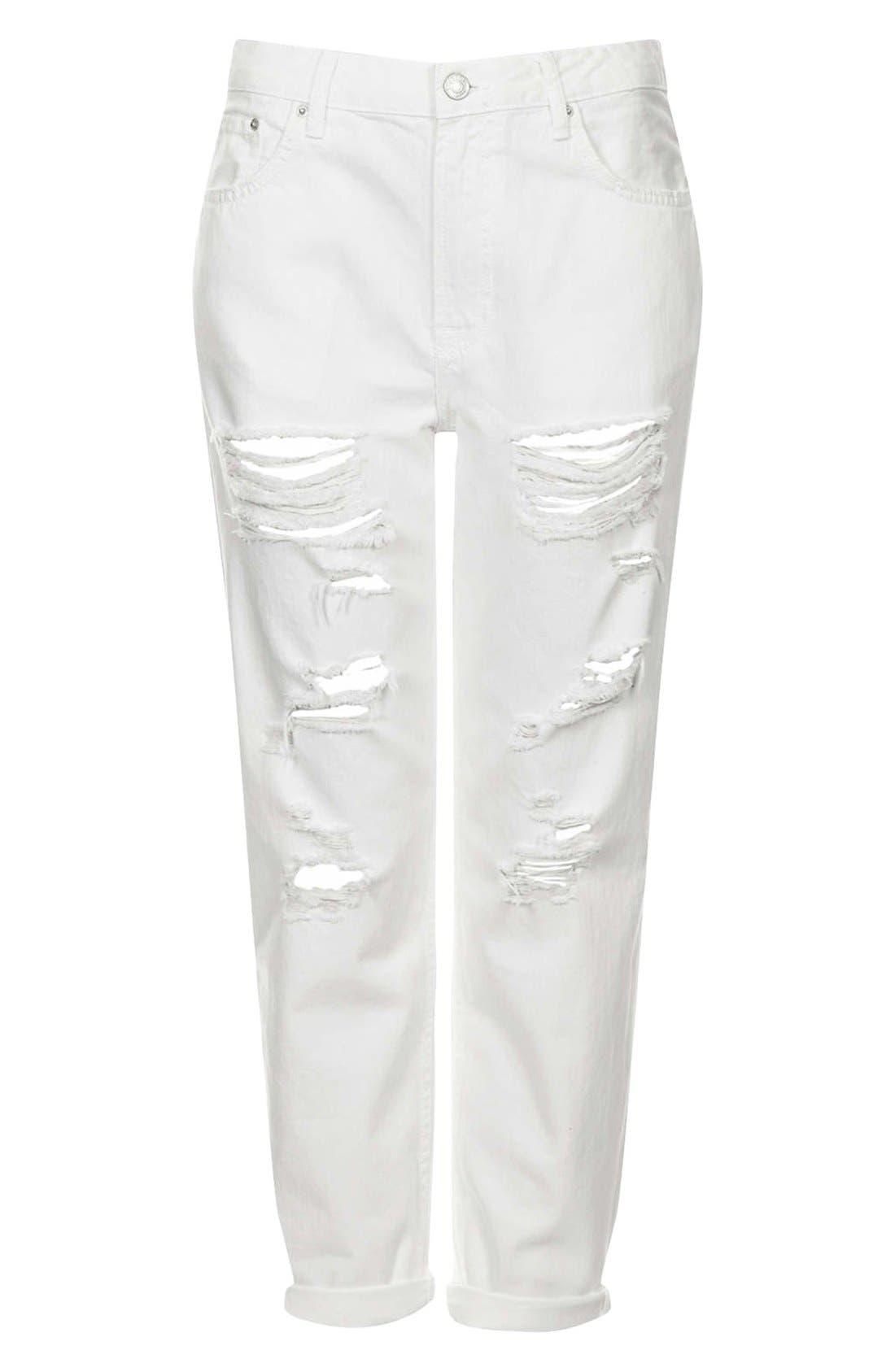 Alternate Image 3  - Topshop Moto 'Hayden' Destroyed Boyfriend Jeans (White)