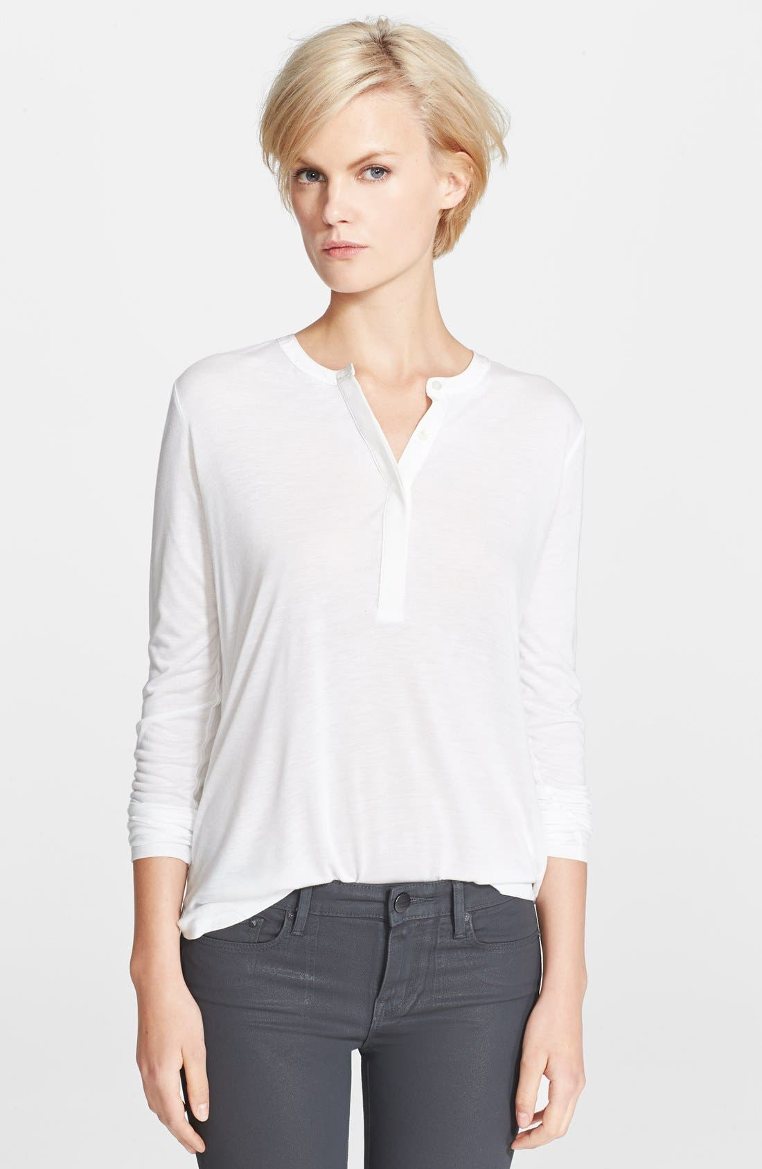 Main Image - Vince Long Sleeve Contrast Placket Henley Top