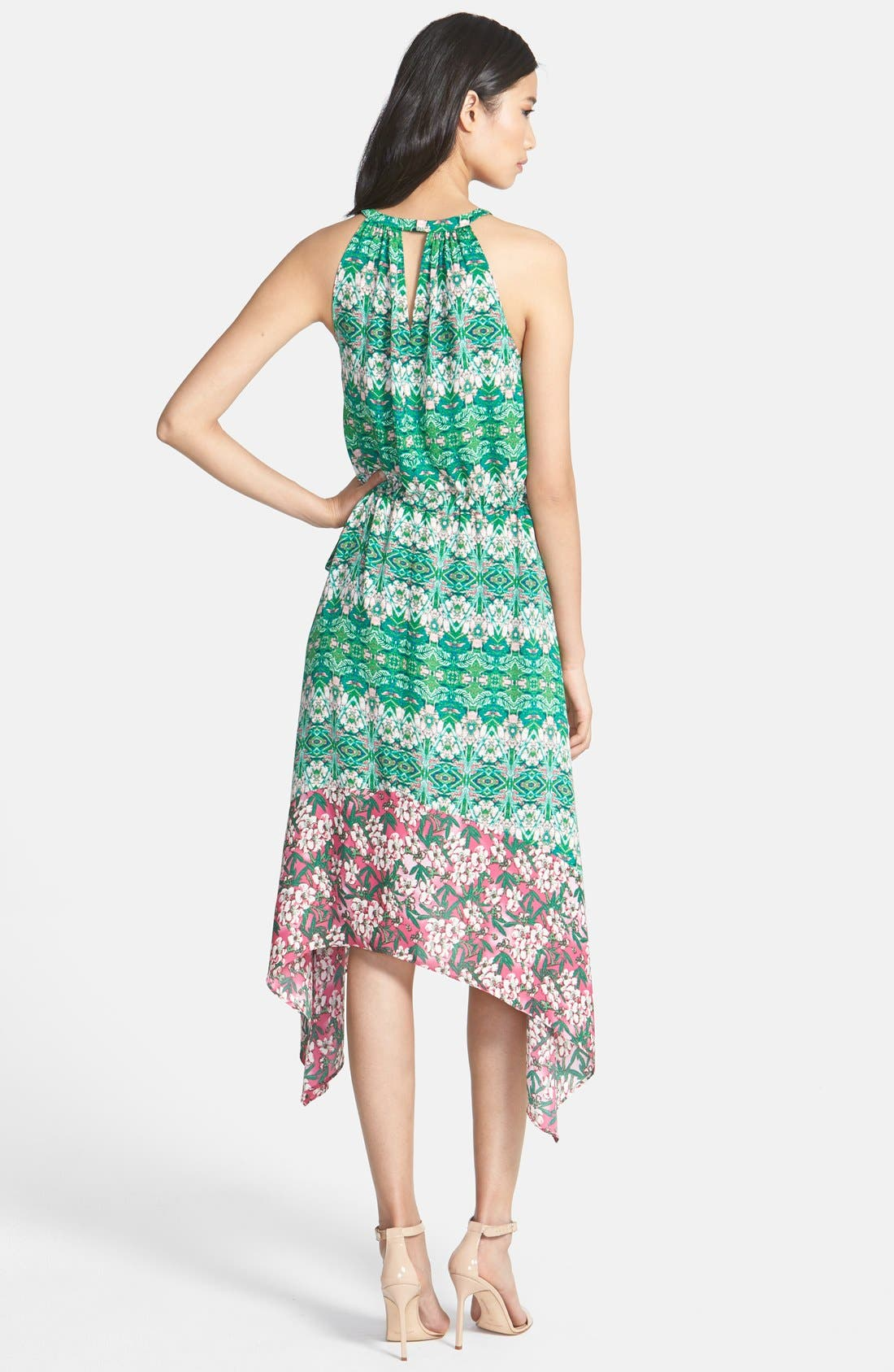 Alternate Image 2  - BCBGMAXAZRIA 'Kellie' Print Shark Bite Hem Georgette Midi Dress