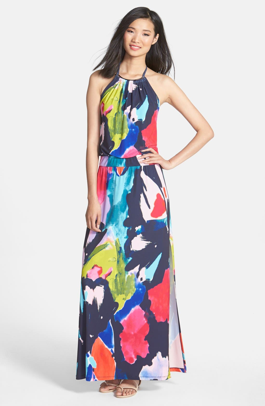 Main Image - Trina Turk 'Shirley' Floral Print Halter Maxi Dress