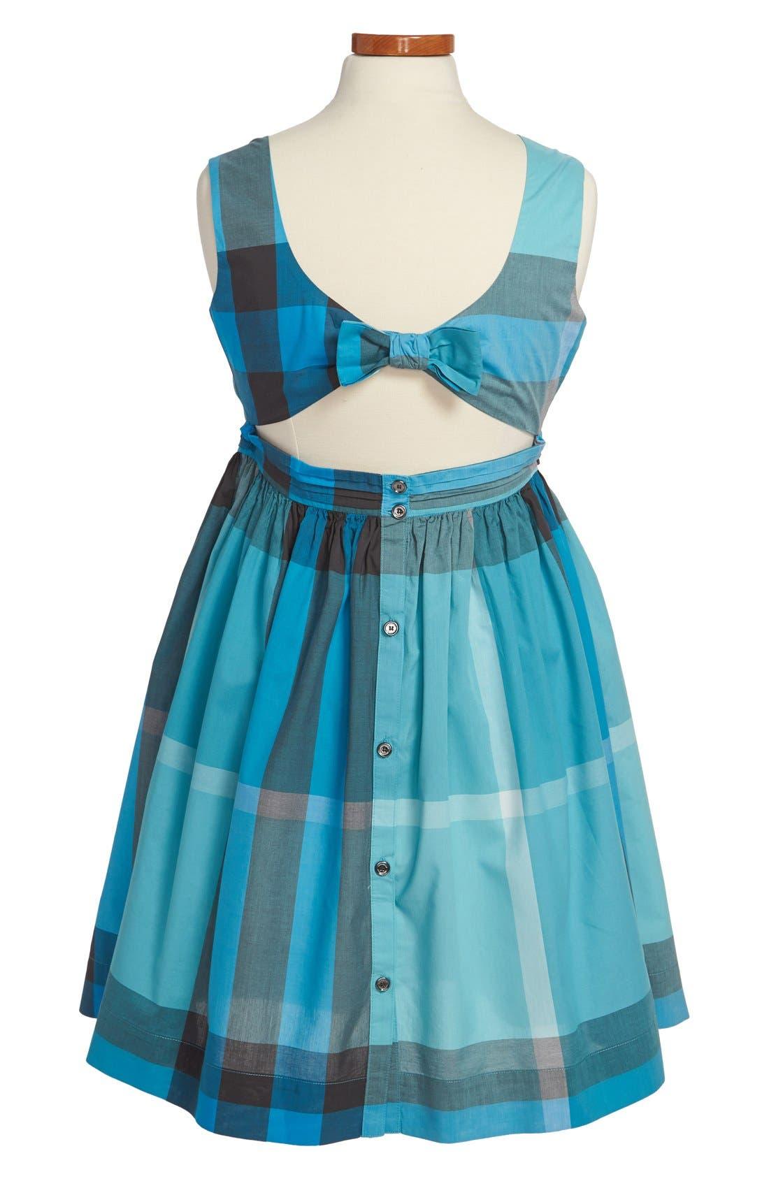 Alternate Image 2  - Burberry Check Print Cutout Back Cotton Dress (Little Girls & Big Girls)