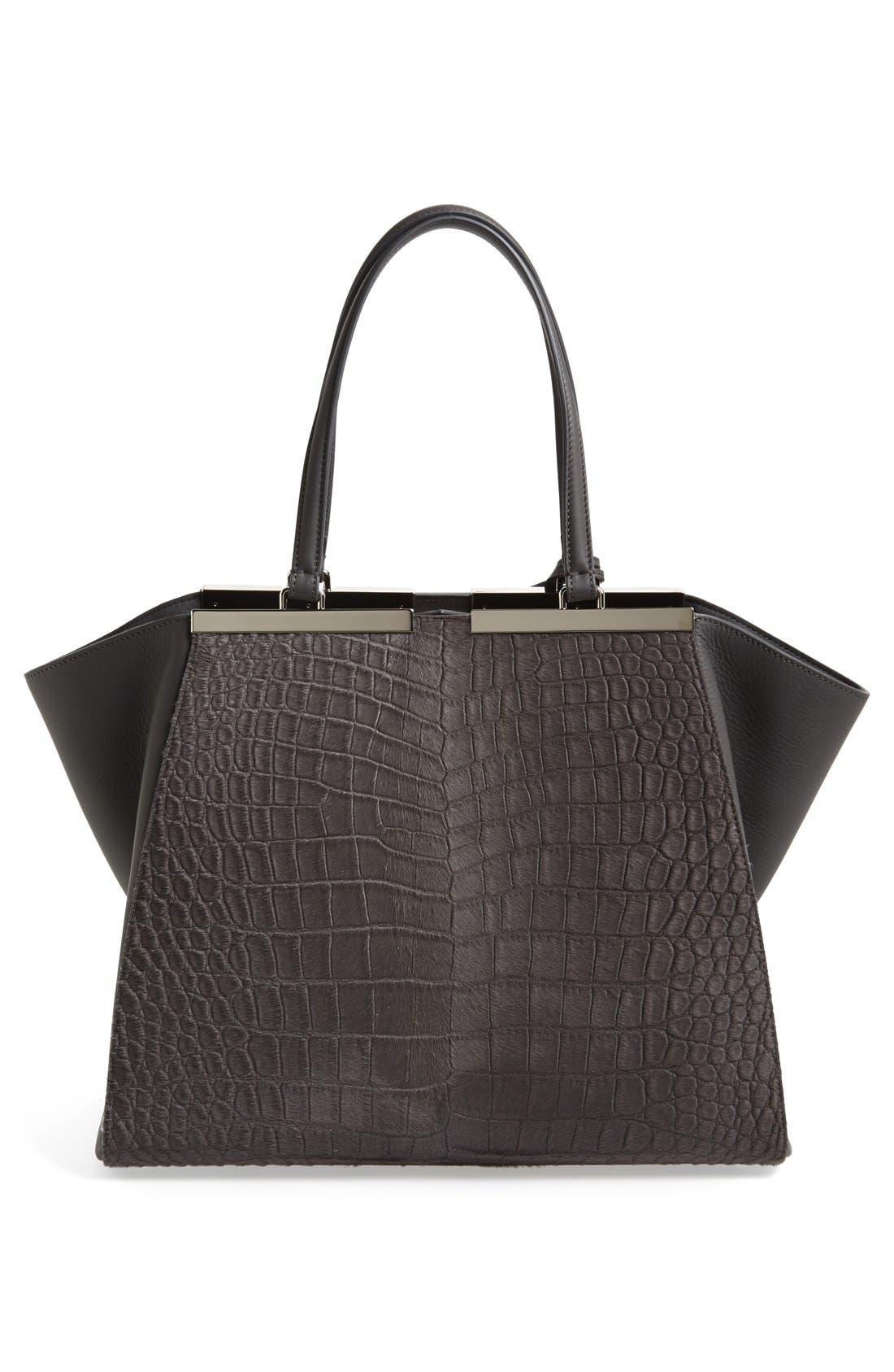 Alternate Image 4  - Fendi '3Jours' Croc Embossed Leather Shopper