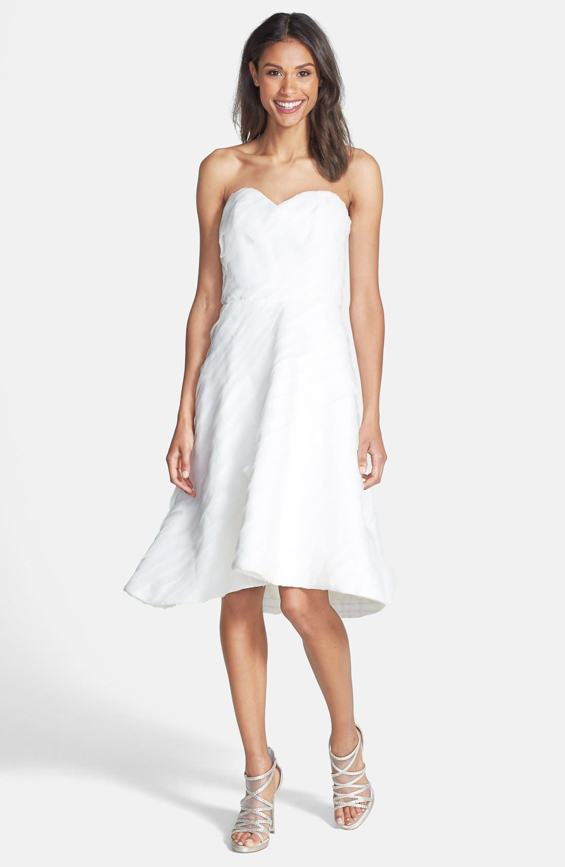 Alternate Image 1 Selected - Kirstie Kelly Strapless Laser Cut Organza Dress