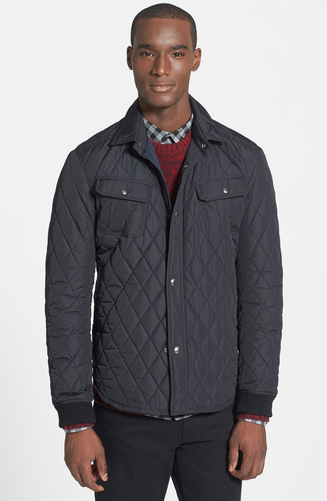 Main Image - Vince 'CPO' Diamond Quilted Trim Fit Jacket