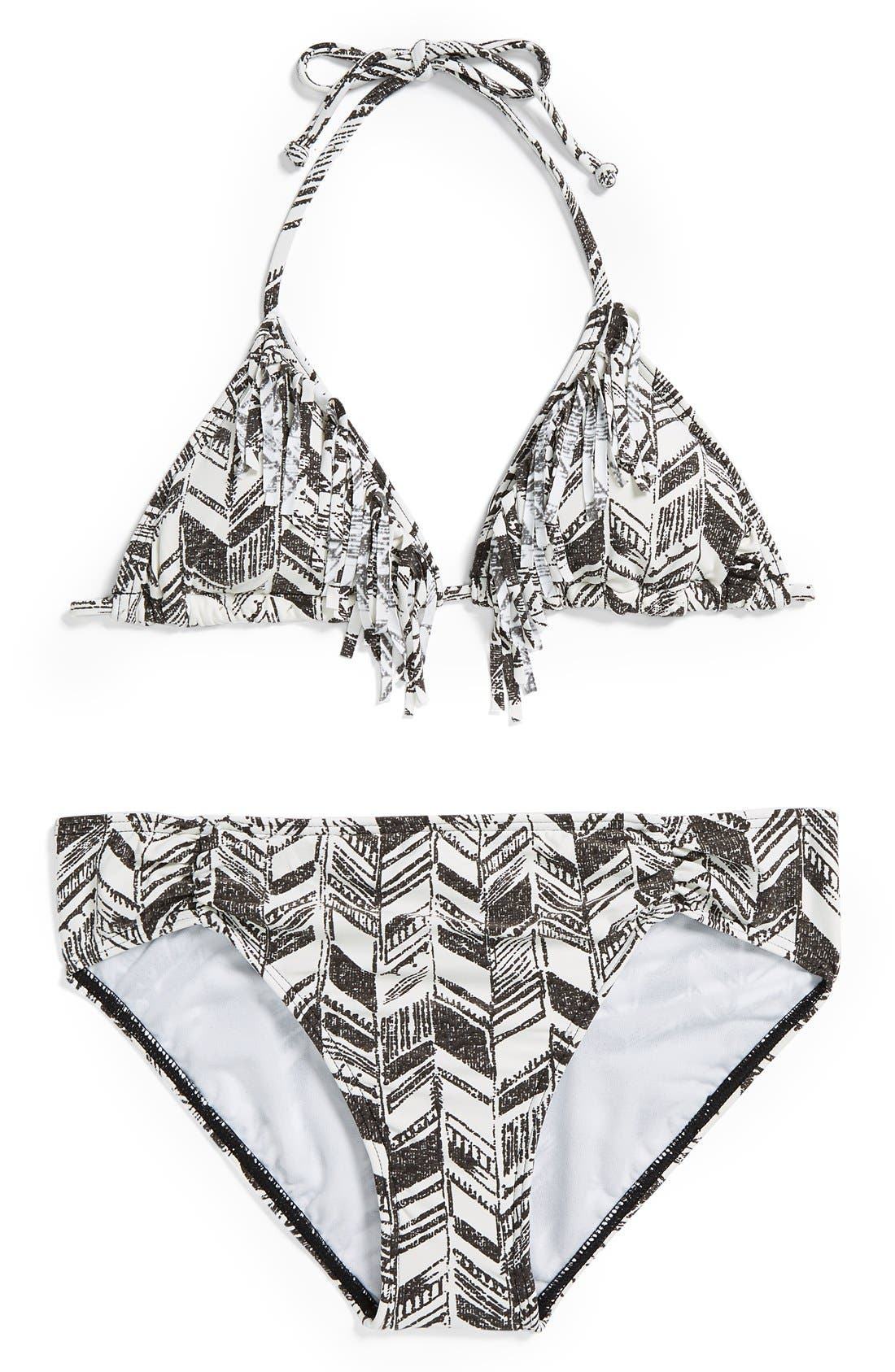 Alternate Image 1 Selected - Billabong 'Daydreamer' Fringe Two-Piece Swimsuit (Big Girls)