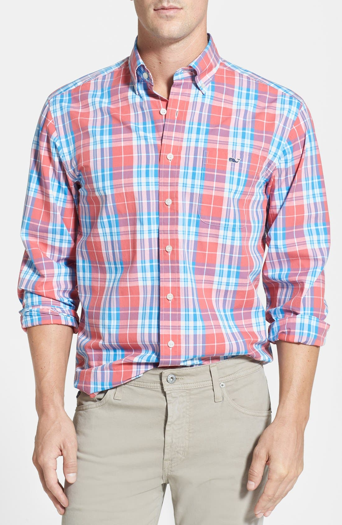 Alternate Image 1 Selected - Vineyard Vines 'Tucker - Ginger Rum' Regular Fit Plaid Sport Shirt