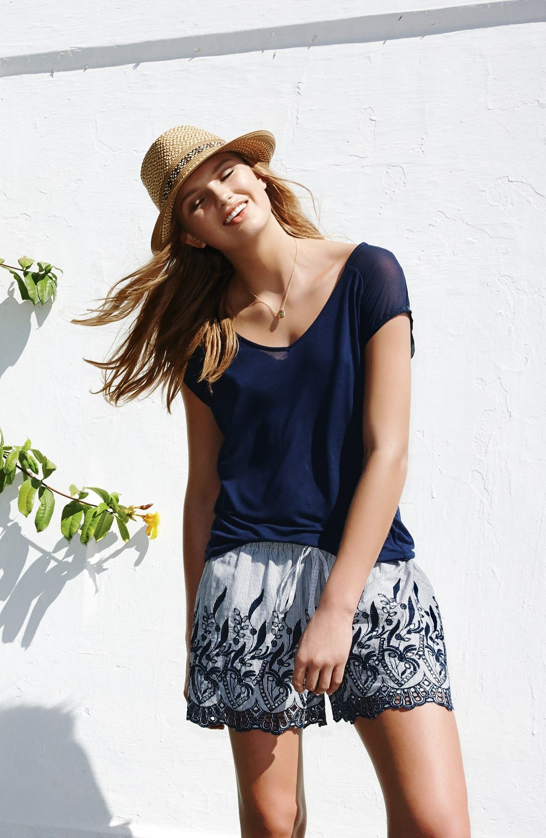 Alternate Image 2  - Two by Vince Camuto Chiffon Sleeve V-Neck Tee