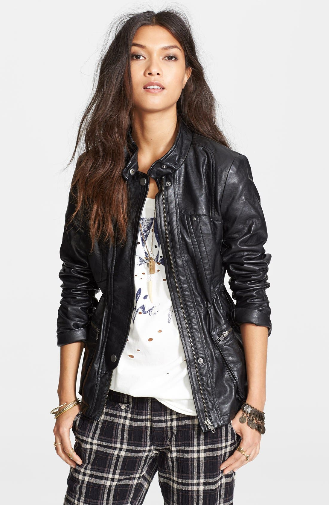 Alternate Image 1 Selected - Free People Faux Leather Cargo Jacket
