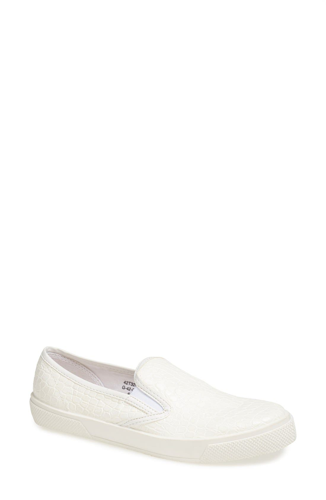 Main Image - Topshop 'Tika2' Croc Embossed Slip-On