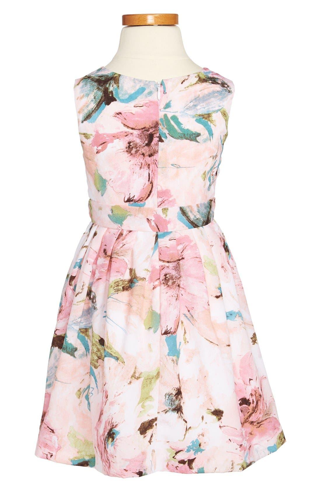 Alternate Image 2  - Pippa & Julie Floral Print Dress (Little Girls & Big Girls)