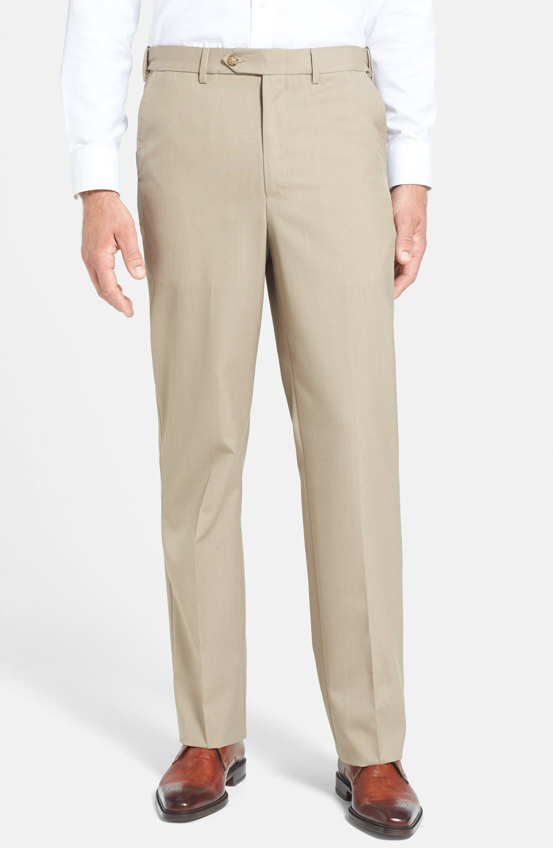 Berle Self Sizer Waist Tropical Weight Flat Front Trousers