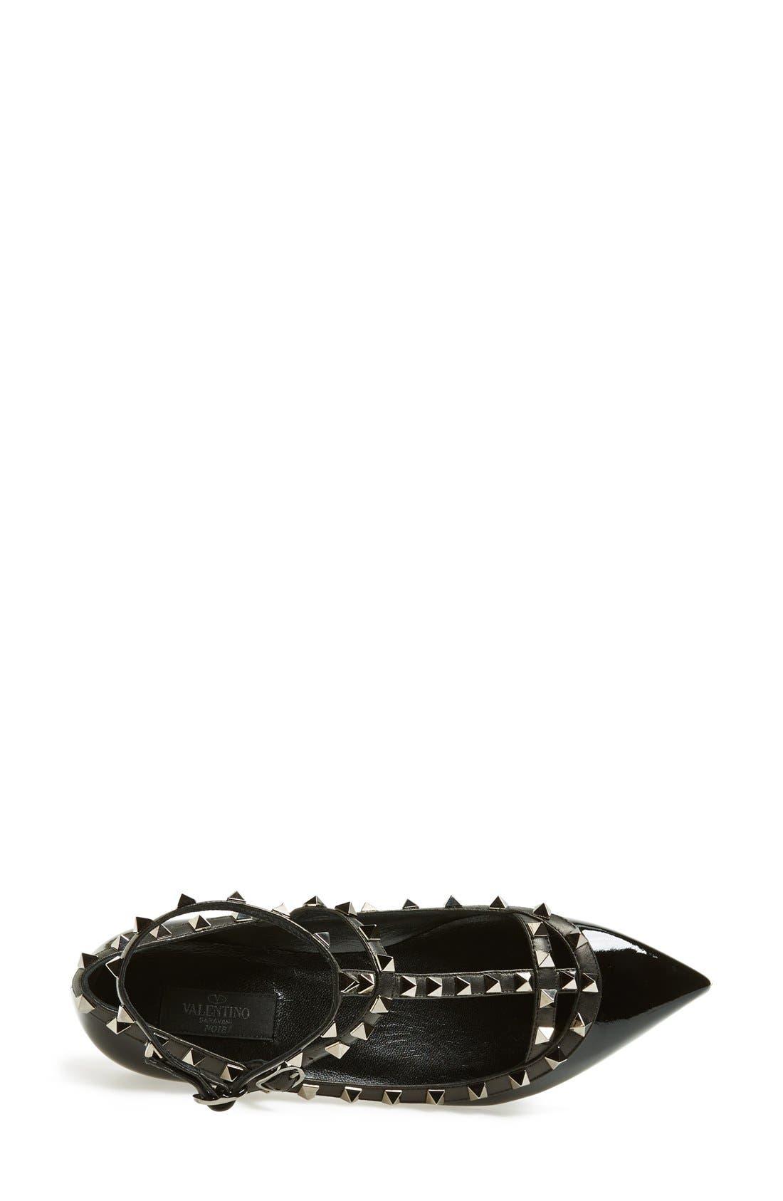 Alternate Image 3  - Valentino 'Noir Rockstud' Double Ankle Strap Patent Leather Pointy Toe Flat (Women)