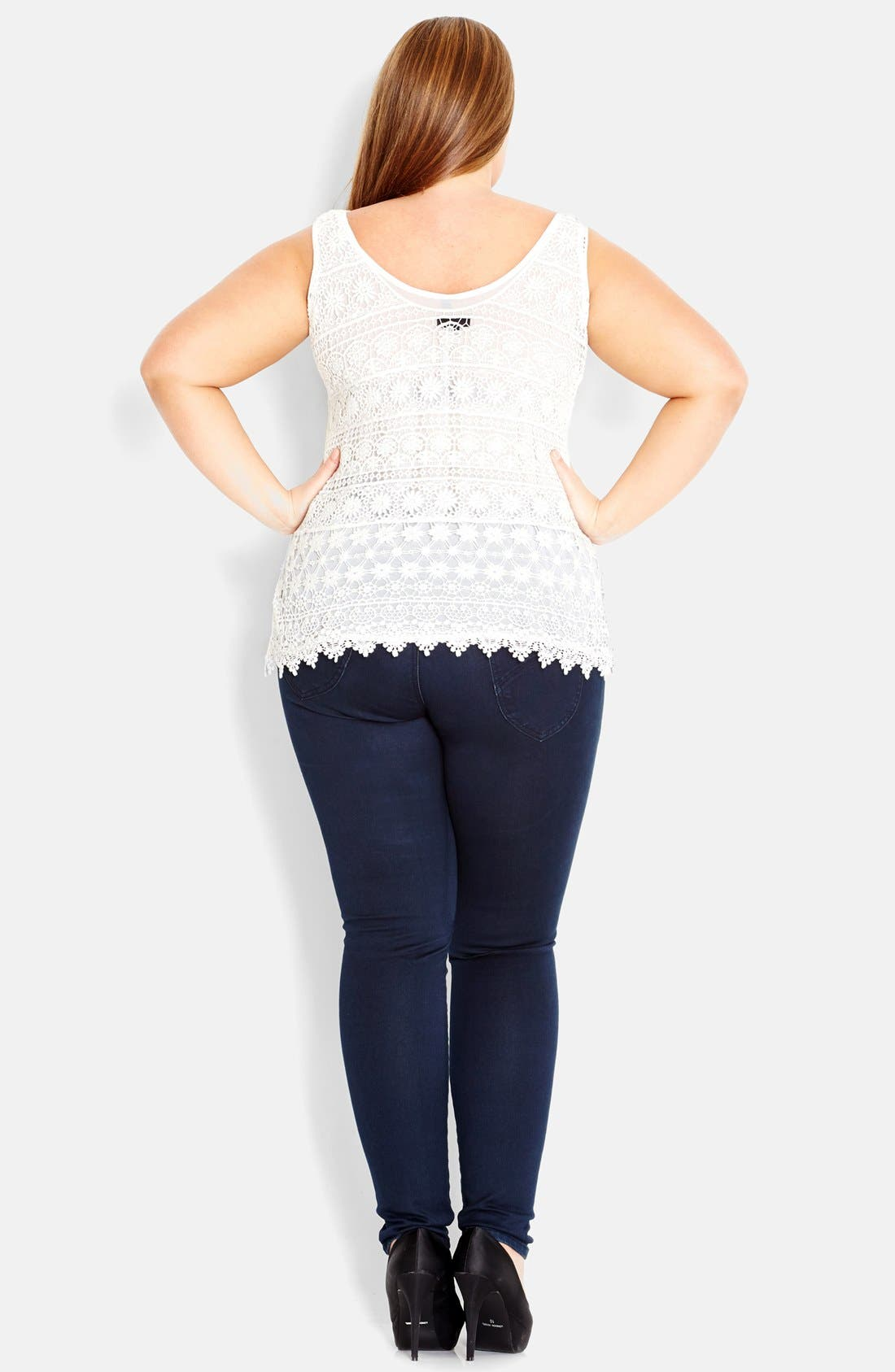 Alternate Image 2  - City Chic Daisy Crochet Tank (Plus Size)