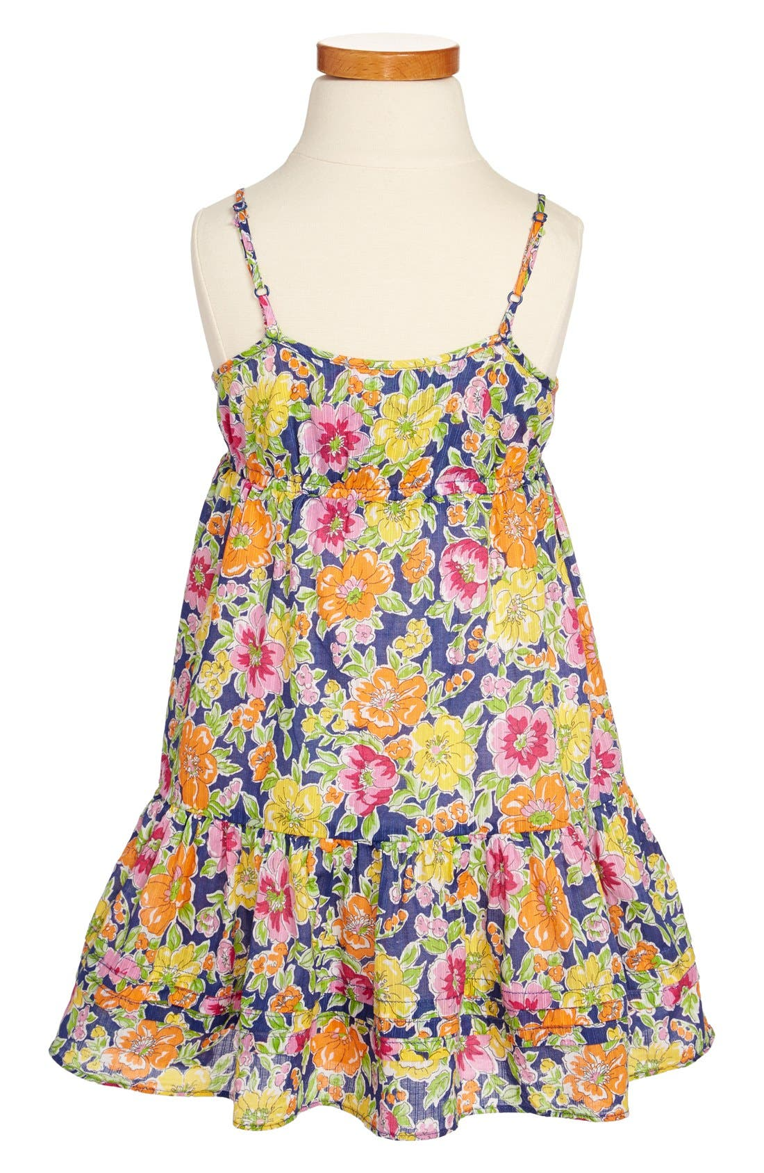 Alternate Image 2  - Ralph Lauren Floral Print Cotton Sleeveless Dress (Toddler Girls)