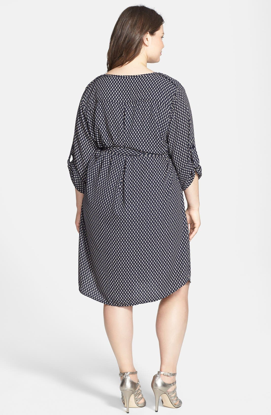 Alternate Image 2  - Collective Concepts Print Roll Sleeve Shirtdress (Plus Size)