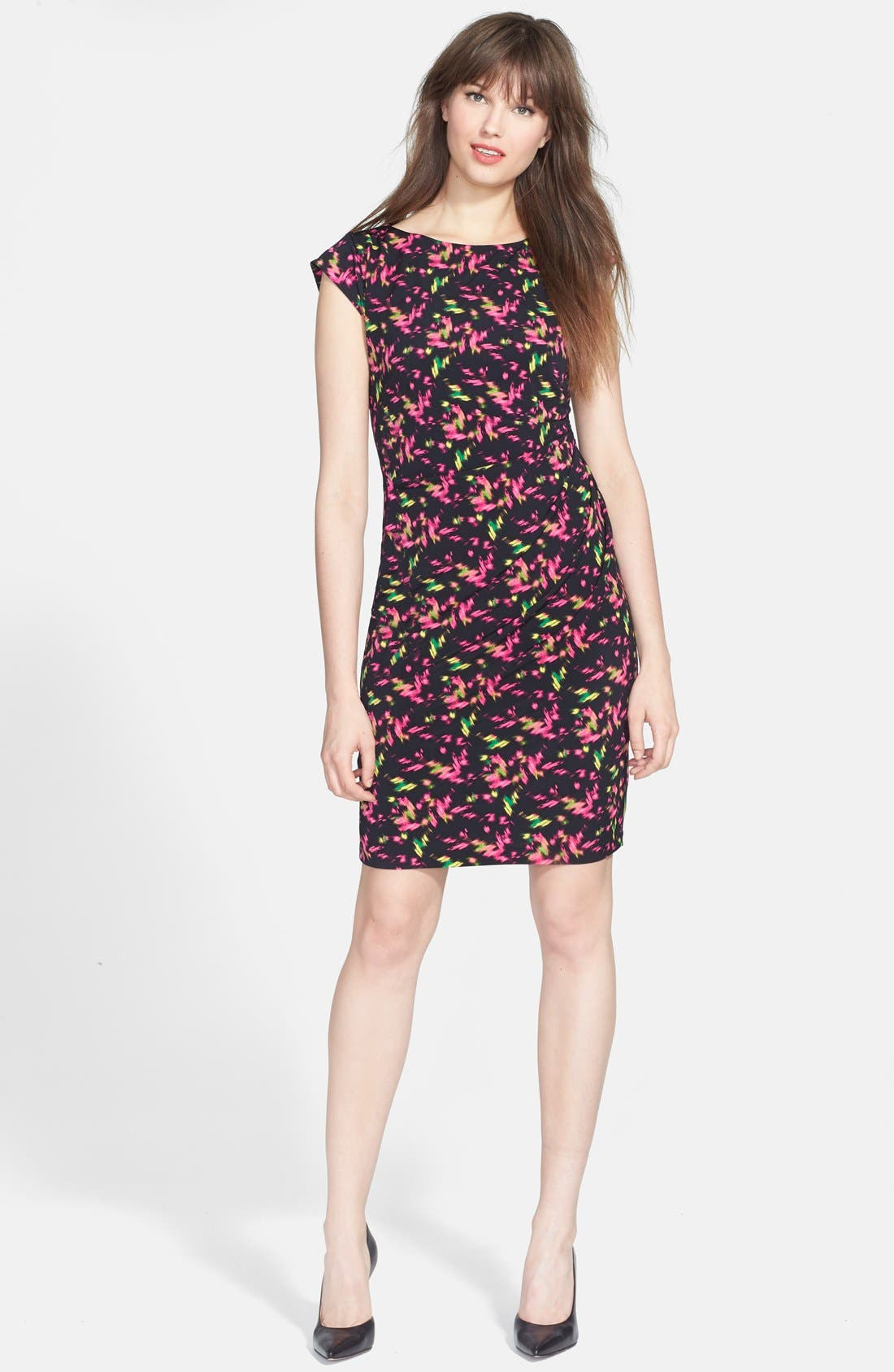 Main Image - Chaus Side Ruched Cap Sleeve Dress