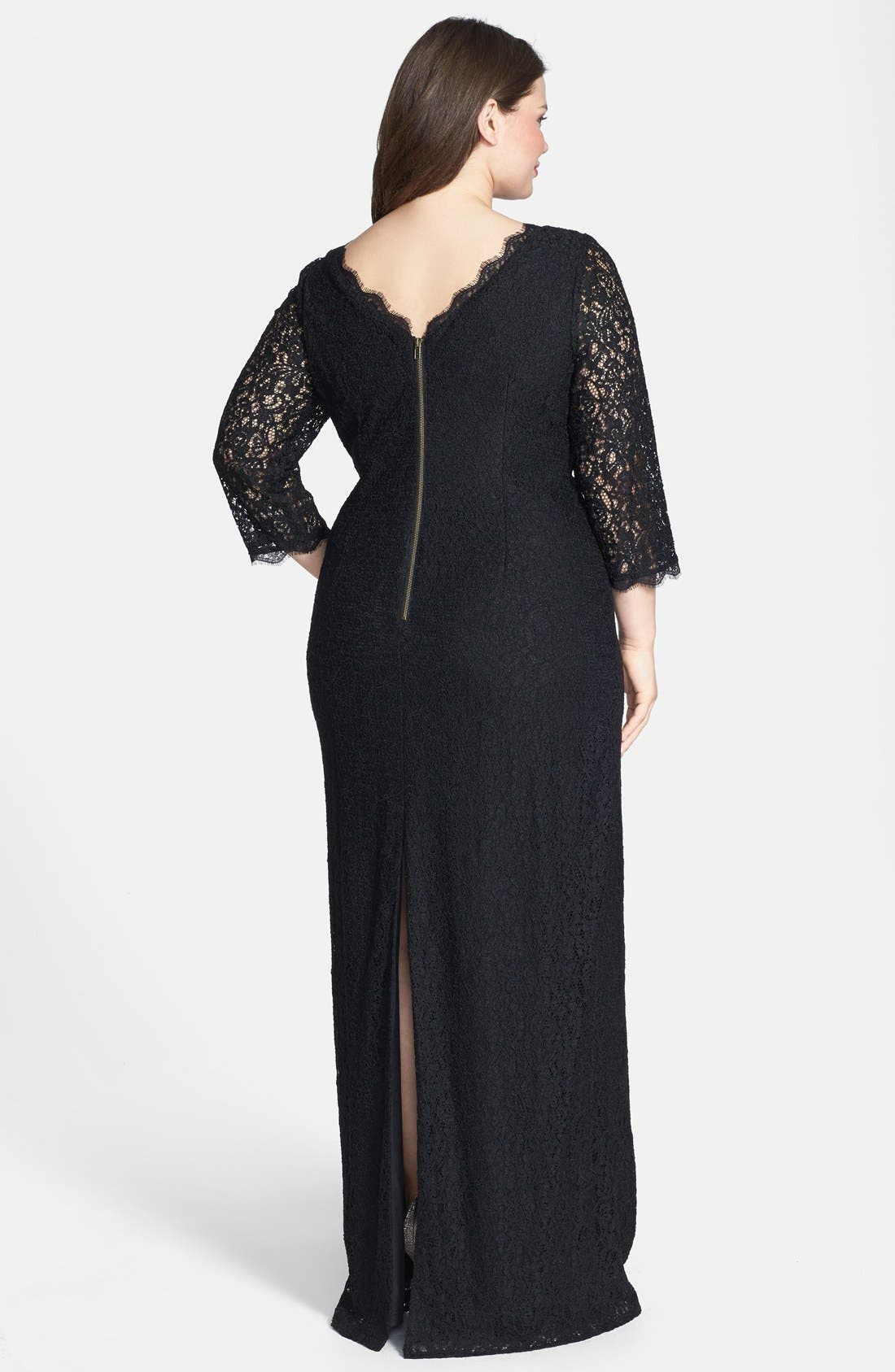 Alternate Image 2  - Adrianna Papell Scalloped Lace Gown (Plus Size)