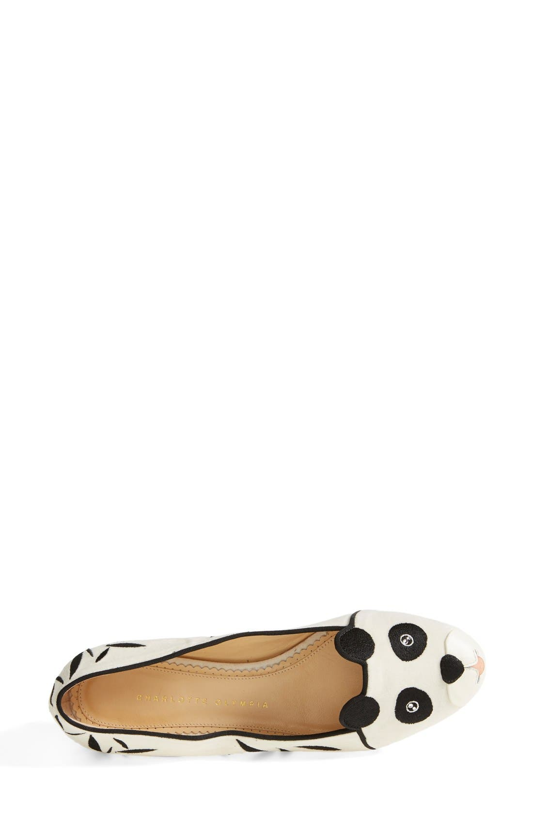 Alternate Image 3  - Charlotte Olympia 'Panda' Silk Velvet & Calfskin Leather Flat (Women)