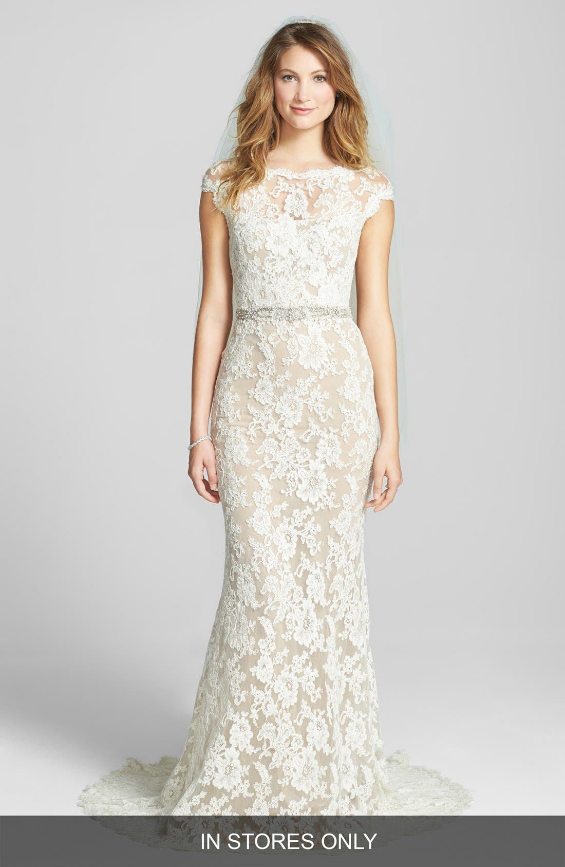 Alternate Image 1 Selected - Reem Acra 'Emma' Embroidered Waist Lace Column Gown (In Stores Only)