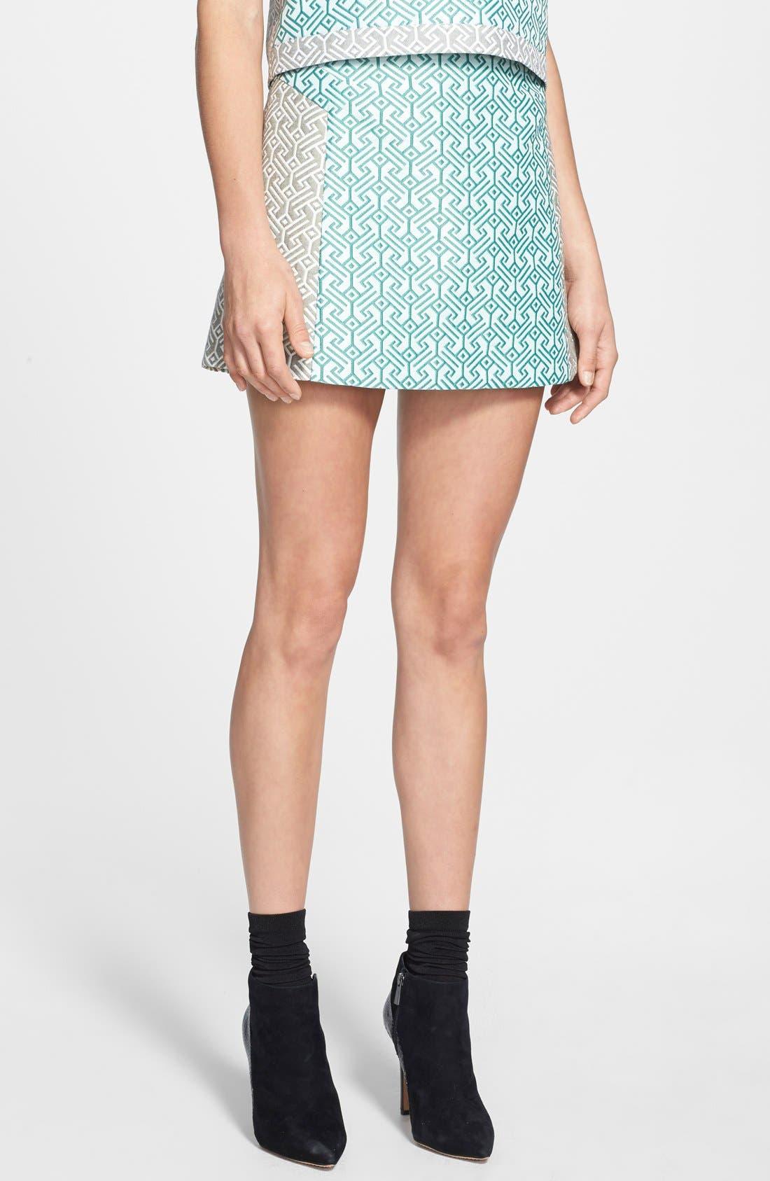 Main Image - Topshop Colorblock Jacquard Skirt (Nordstrom Exclusive)