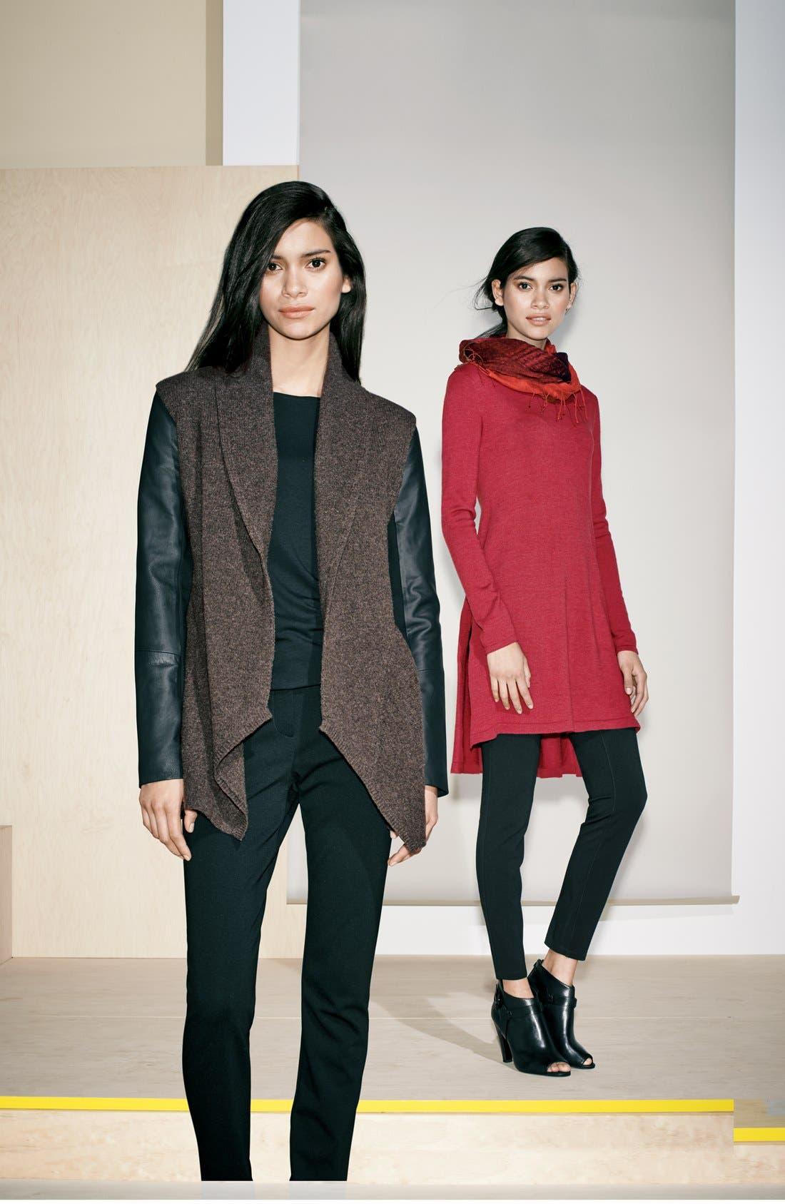 Alternate Image 4  - Eileen Fisher Leather Sleeve Merino Lambswool Jacket (Regular & Petite)