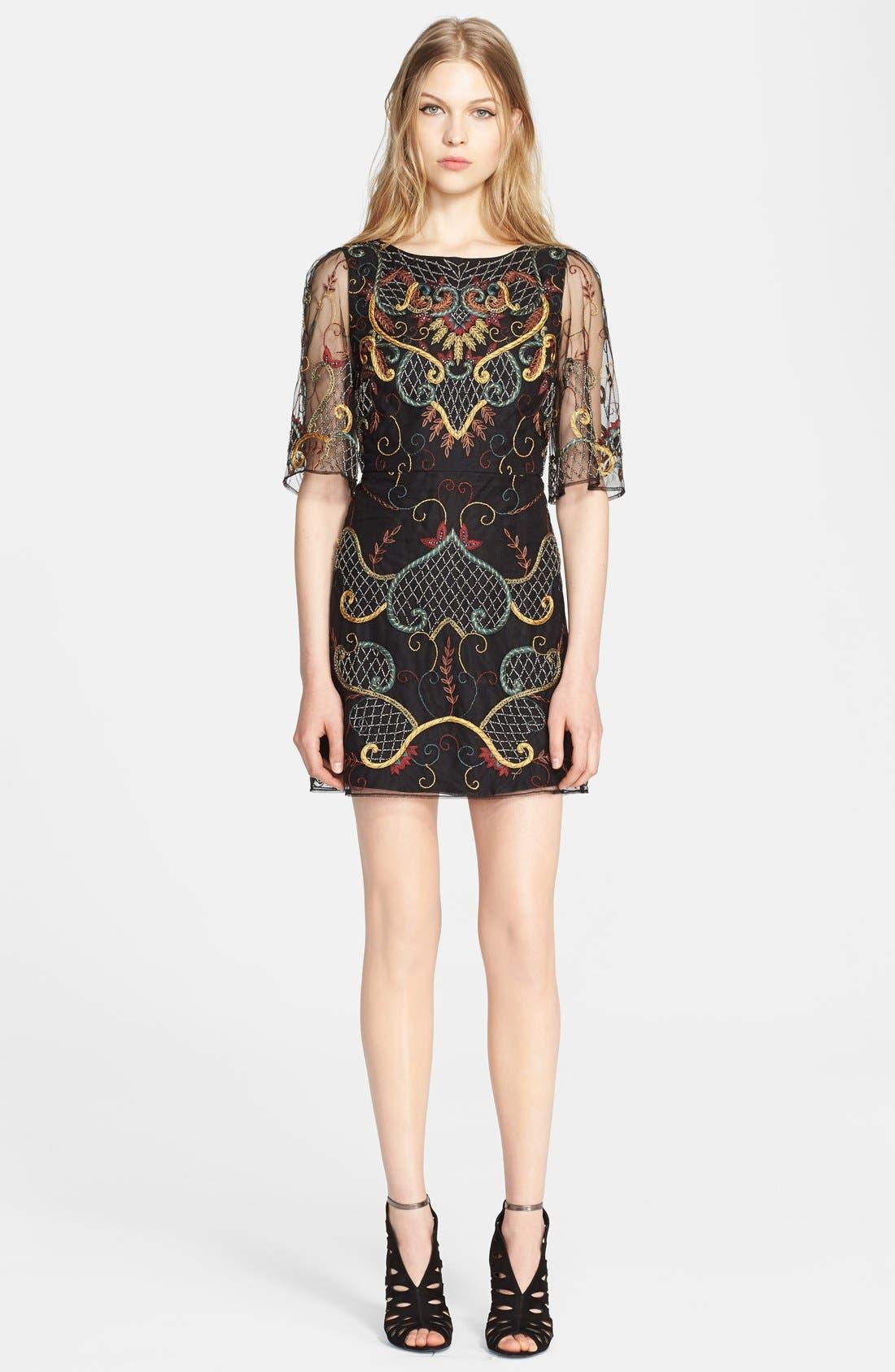 Main Image - Alice + Olivia 'Drina' Embellished Chiffon Shift Dress