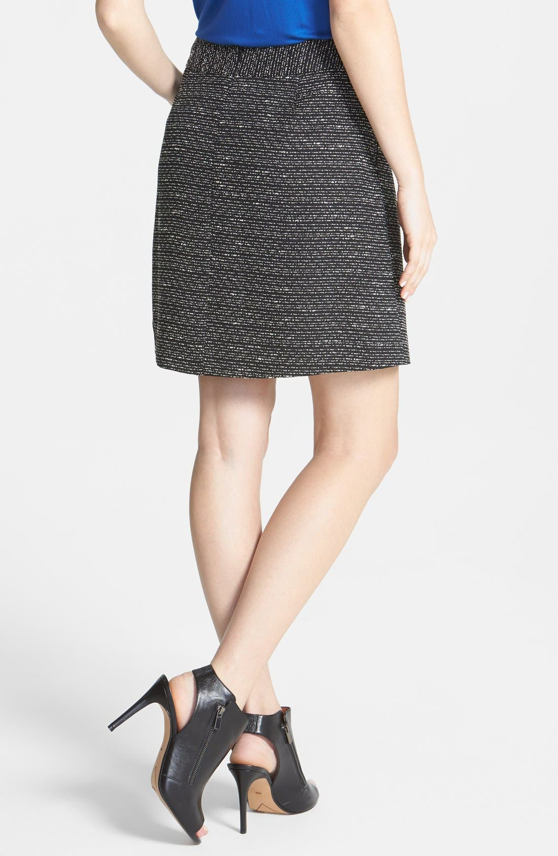 Alternate Image 2  - Halogen® Pleat Tweed A-Line Skirt (Regular & Petite)