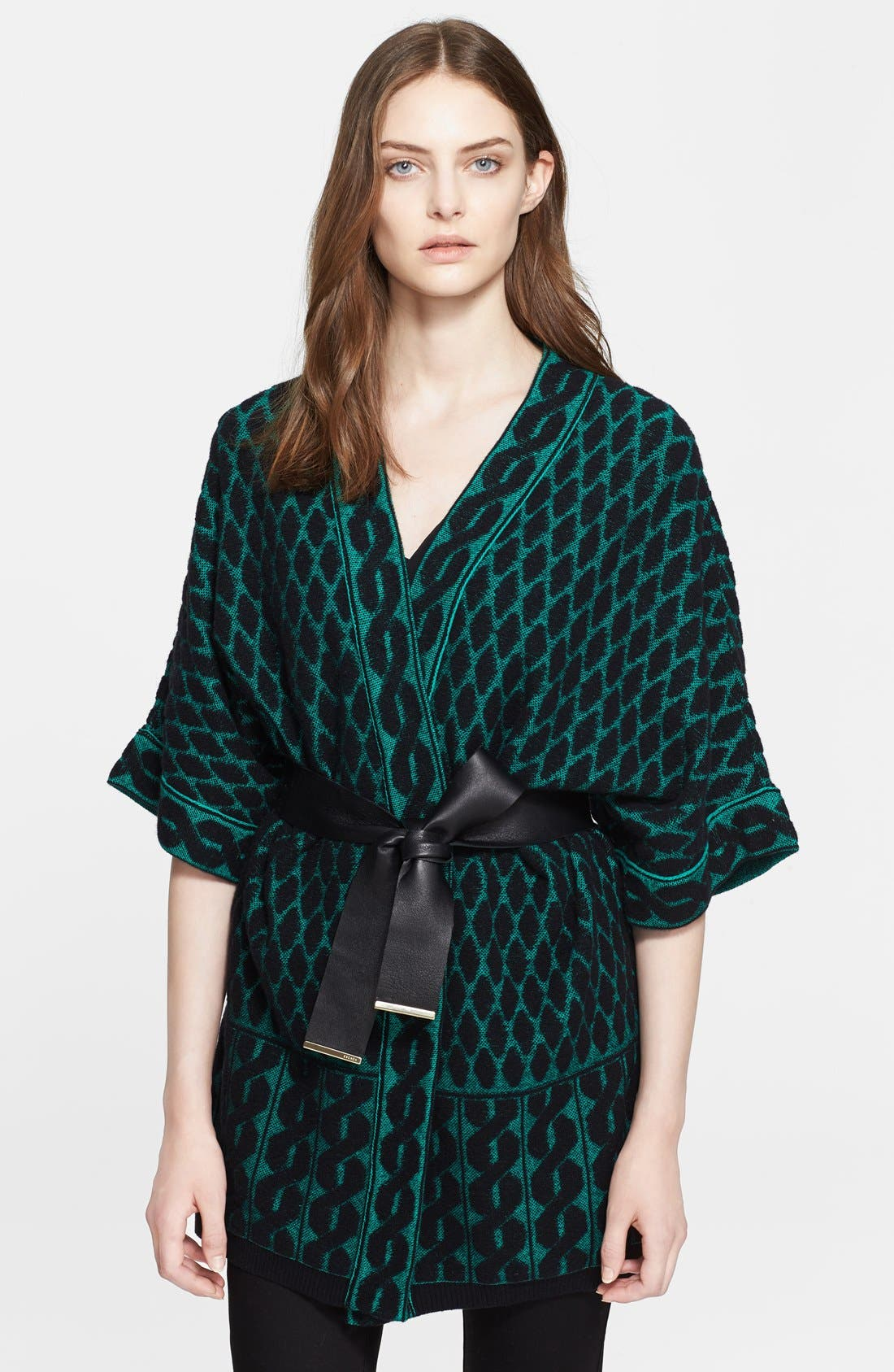 Alternate Image 1 Selected - ESCADA Leather Belted Jacquard Knit Cardigan