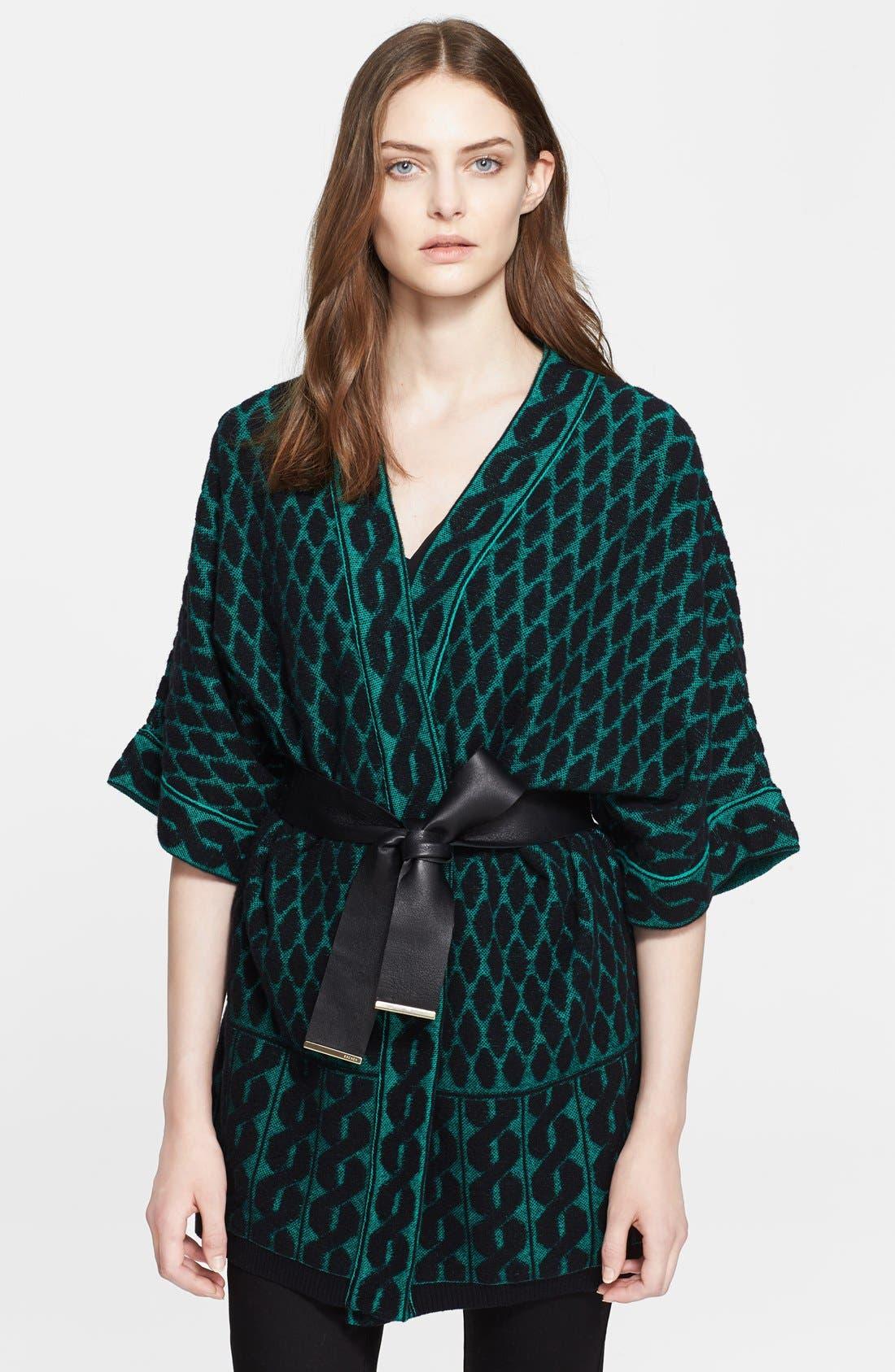 Main Image - ESCADA Leather Belted Jacquard Knit Cardigan