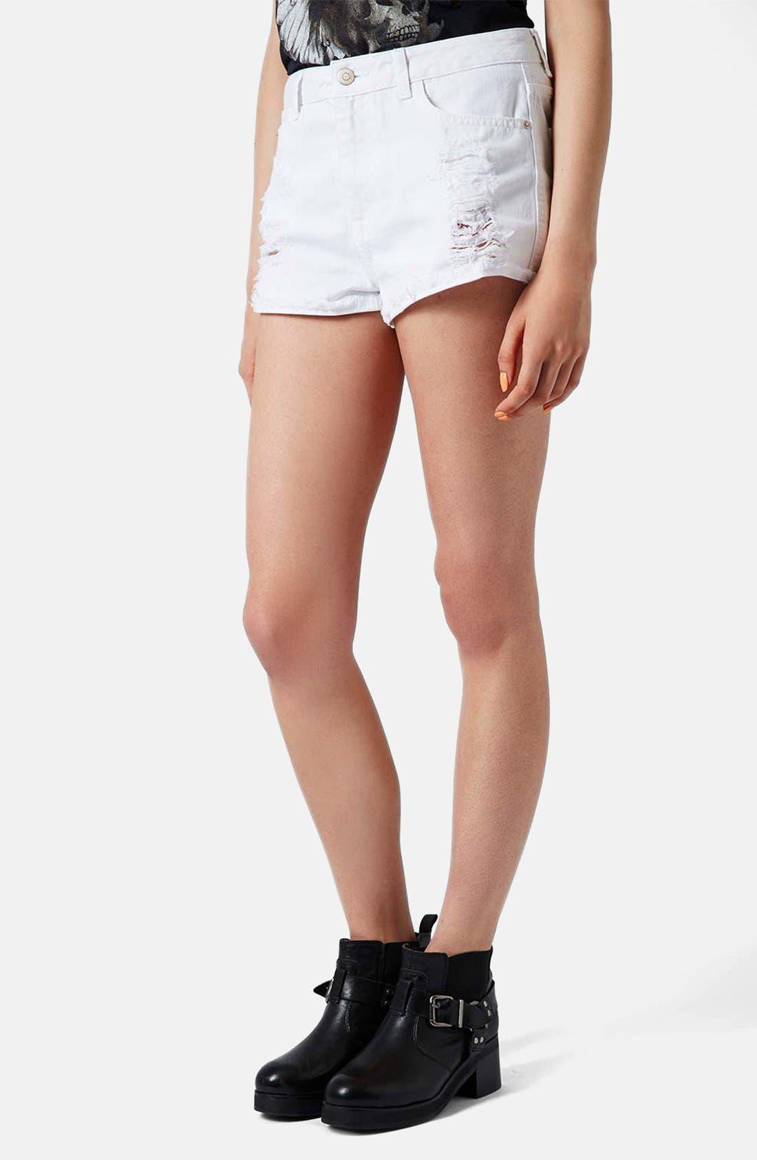 Main Image - Topshop Moto 'Hallie' High Rise Denim Shorts (White)