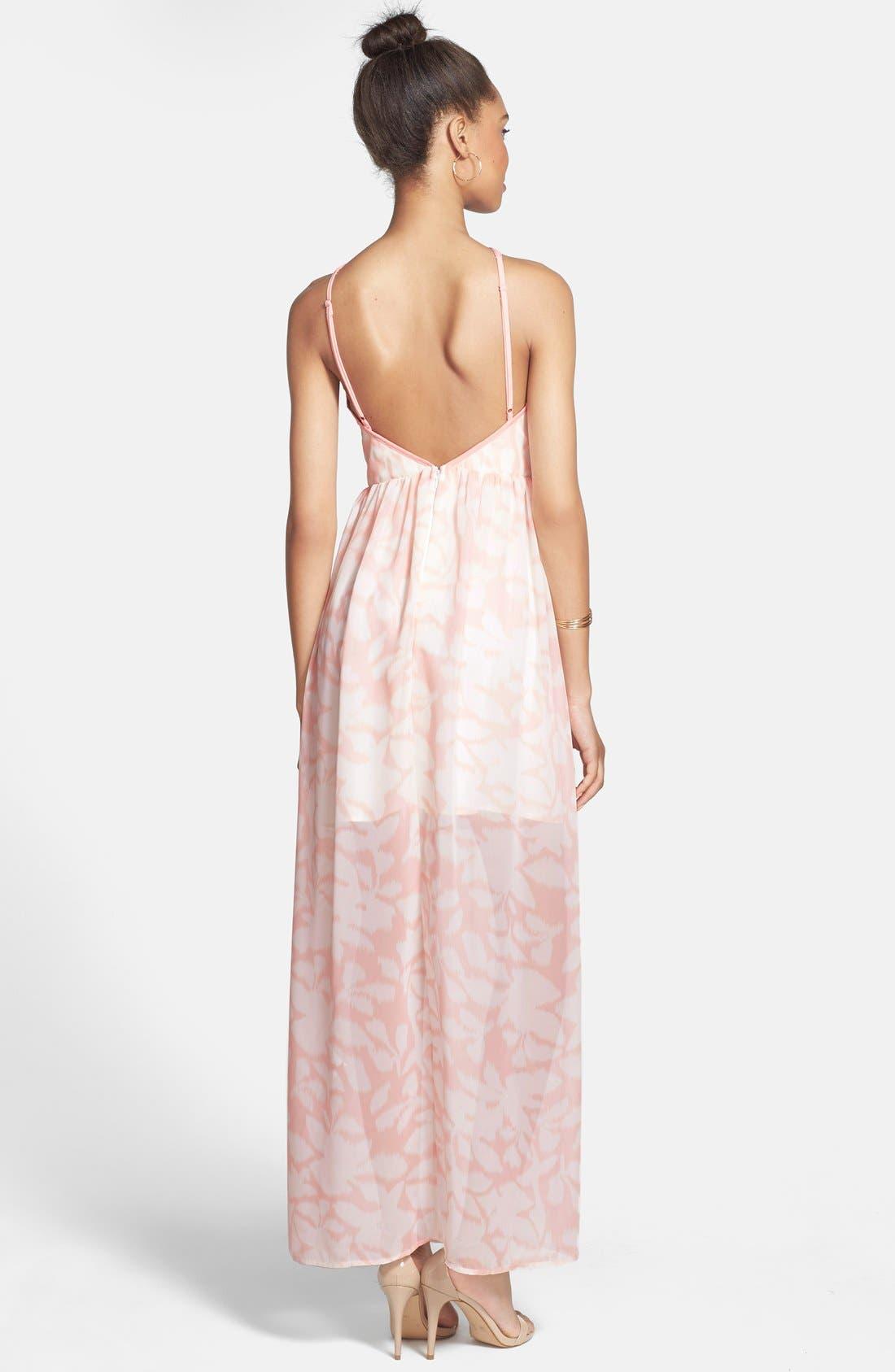 Alternate Image 2  - a. drea 'Watercolor' Strappy Maxi Dress (Juniors)