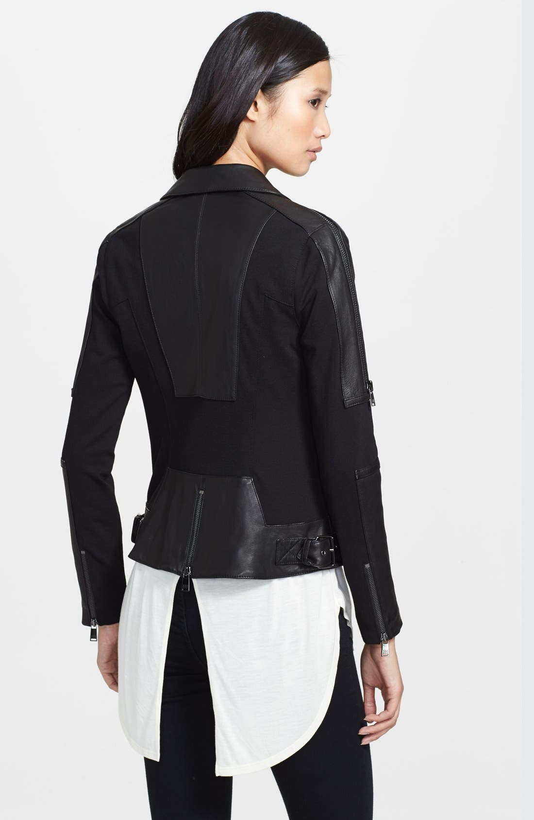 Alternate Image 2  - Haute Hippie Ponte Knit & Leather Moto Jacket